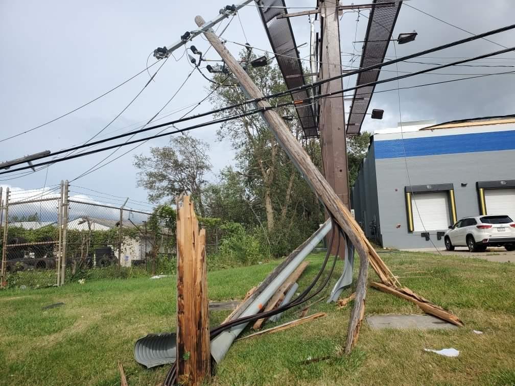 Iowa Derecho damages electric poles in Cedar Rapids, Iowa